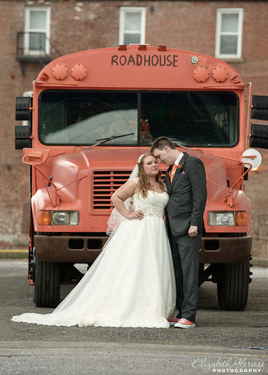 Cleveland Browns tailgating bus was fun transportation for the wedding party to get the to the photo locations.