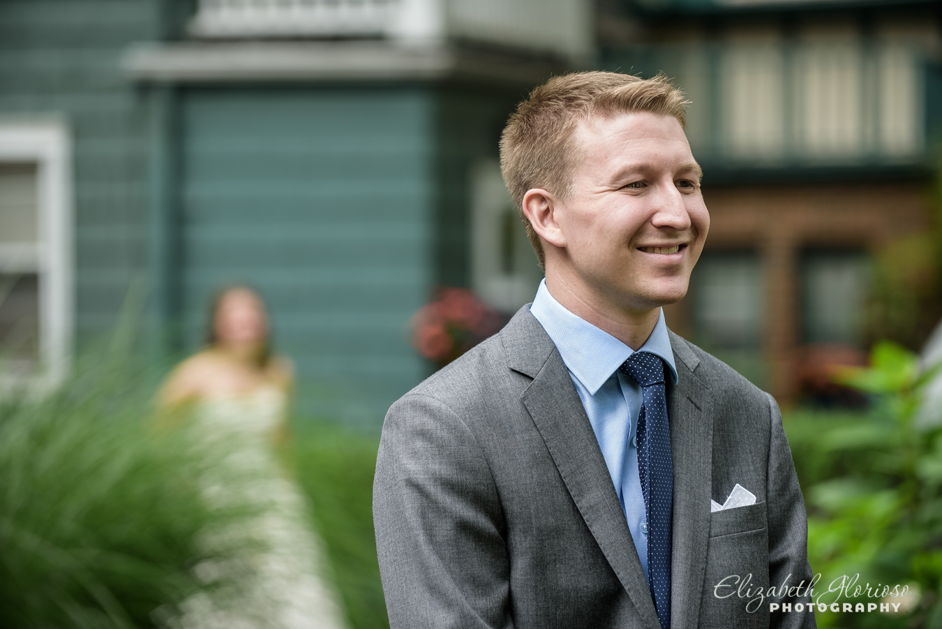 Groom during first look Cleveland Ohio