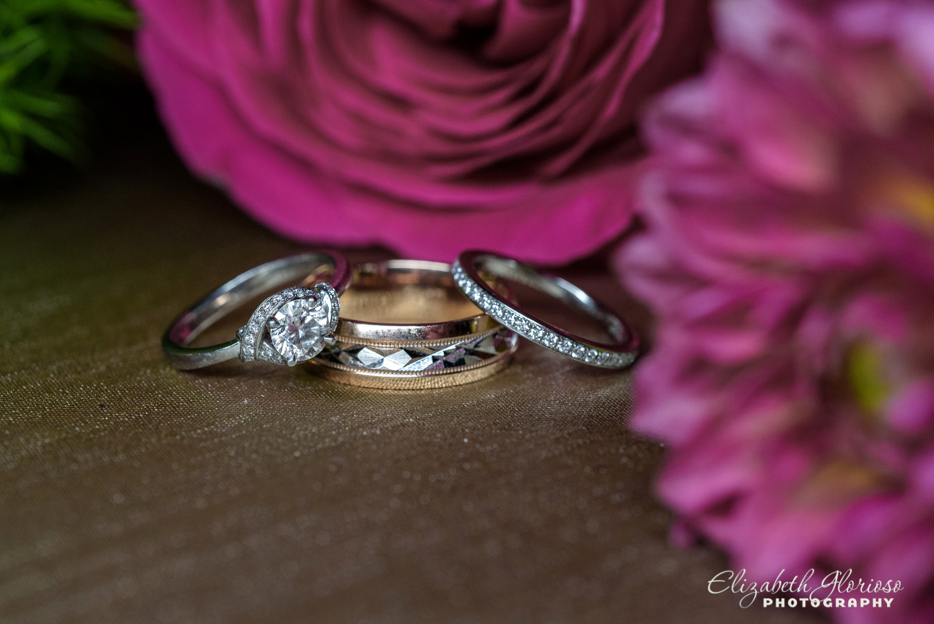 Wedding rings with pink flowers Cleveland Ohio