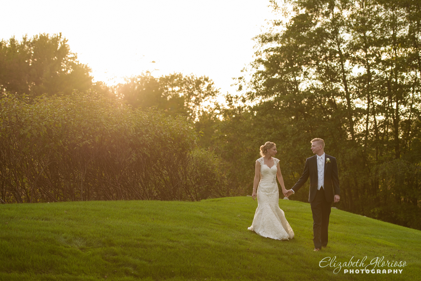 bride and groom at sunset Cleveland Ohio