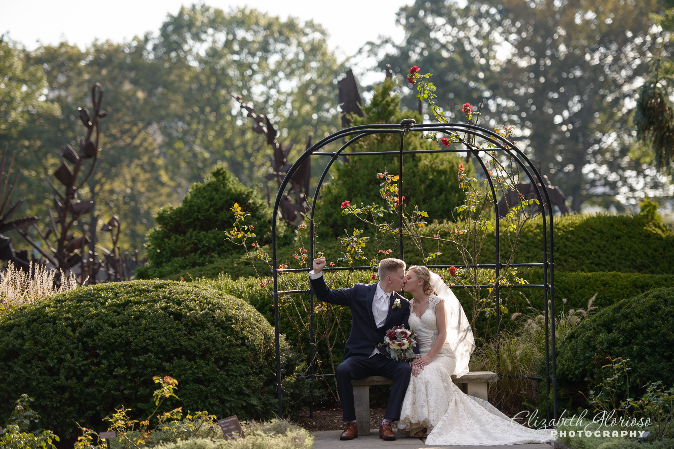 Wedding portraits at Rose garden at the Cleveland Botanical Garden