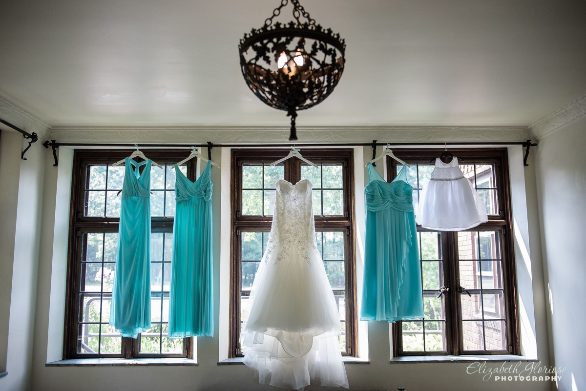 Wedding dress with blue bridesmaid dresses