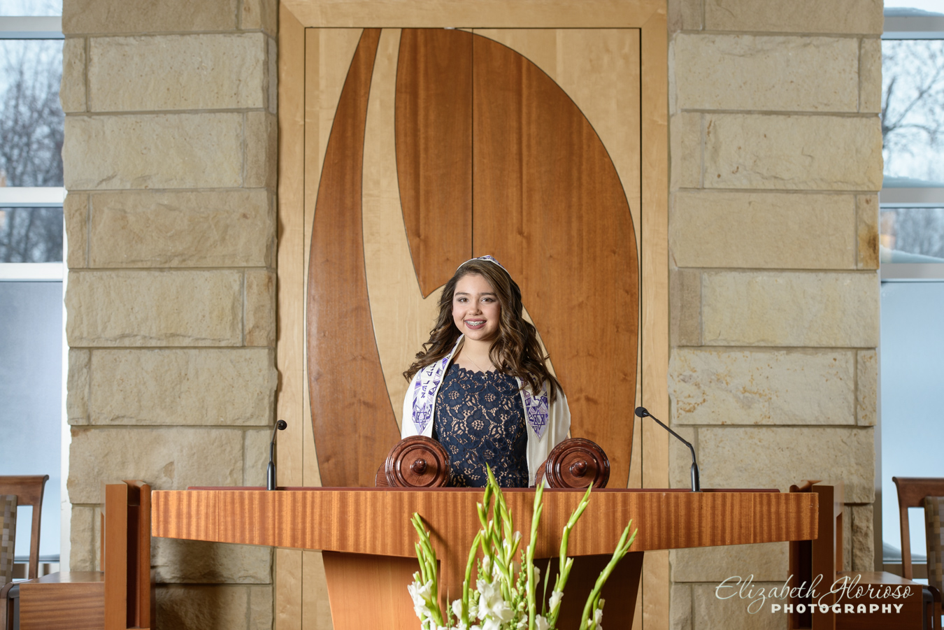Bat Mitzvah girl on bimah Temple Emanu El Cleveland Ohio