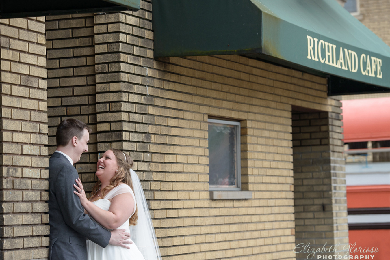We made a stop for post ceremony photos at Richland Cafe in Lakewood where Amanda and Ryan shared their first kiss