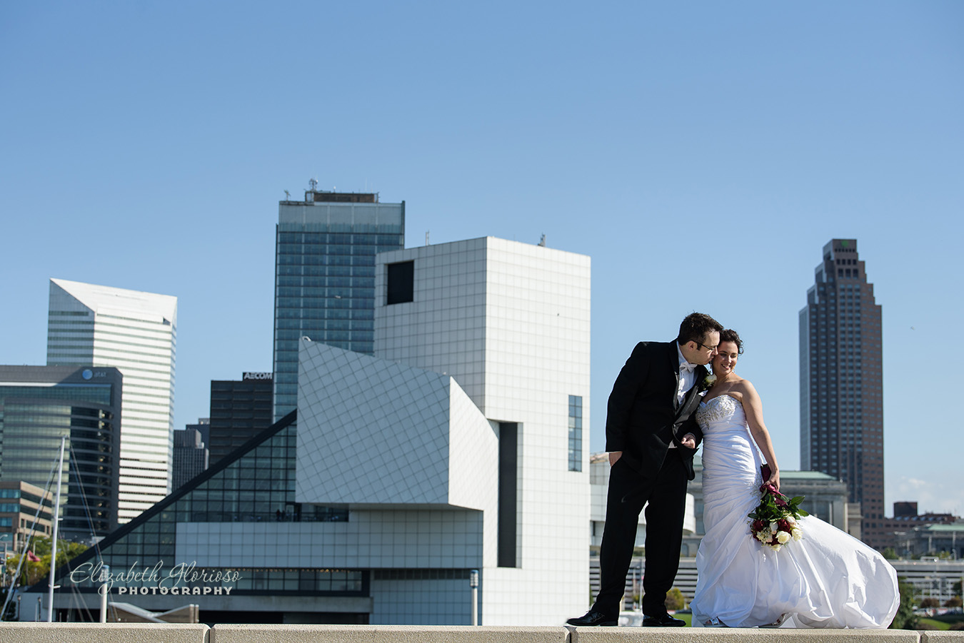 Bride and Groom Rock and Roll Hall of Fame Cleveland Ohio