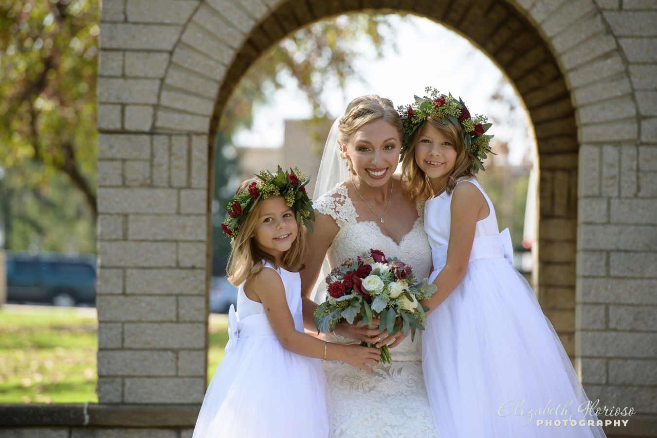 Bride with flower girls Wedding Parma Ohio