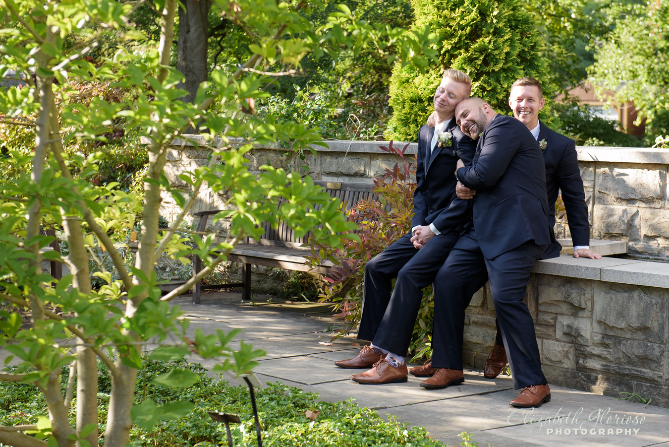 Groom with his groomsmen at the Cleveland Botanical Garden