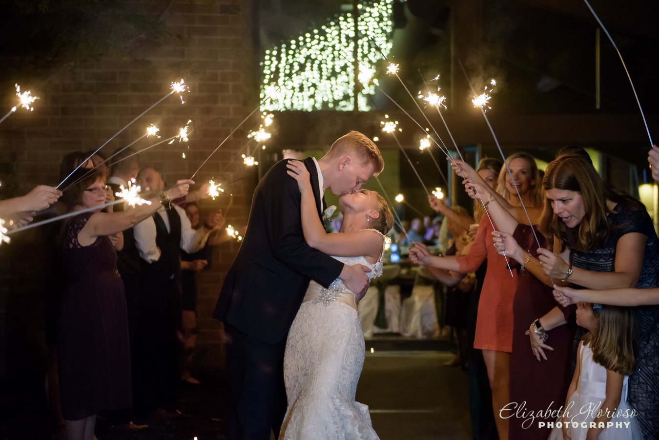 Wedding kiss Sparkler exit wedding North Olmsted Ohio