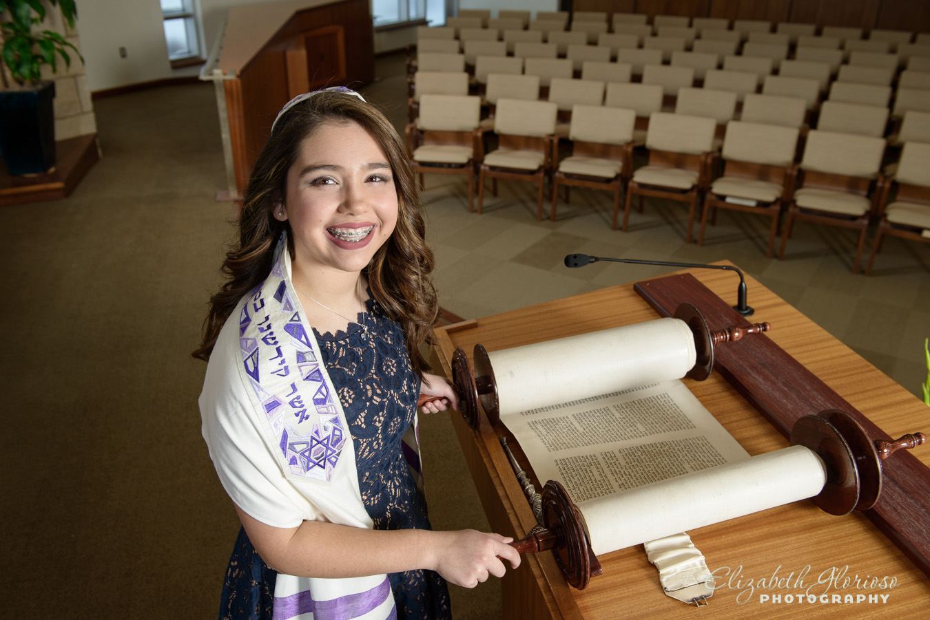 Bat Mitzvah girl on bimah Cleveland Ohio
