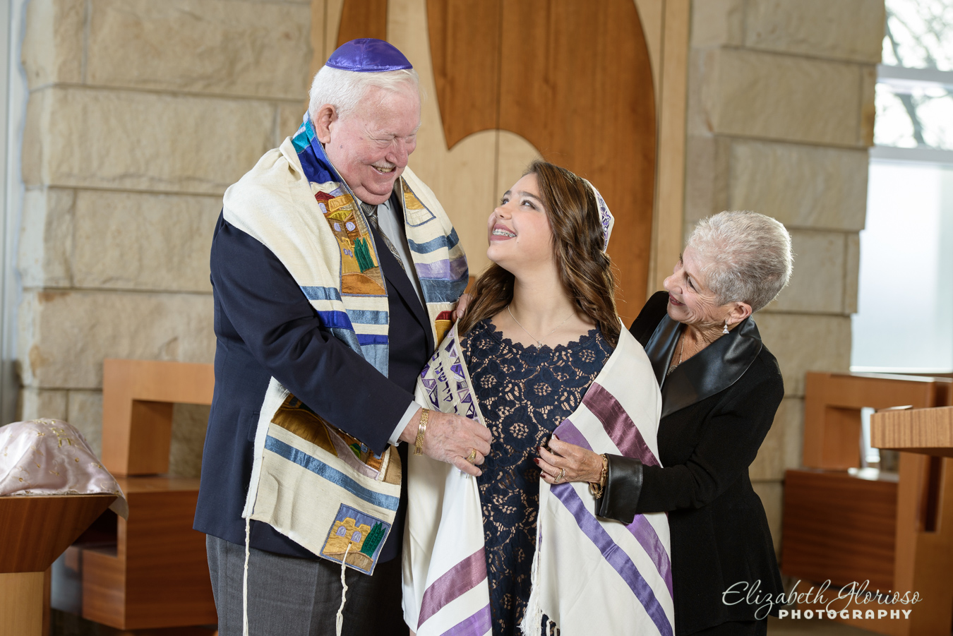 Bat Mitzvah girl with tallis Cleveland Ohio