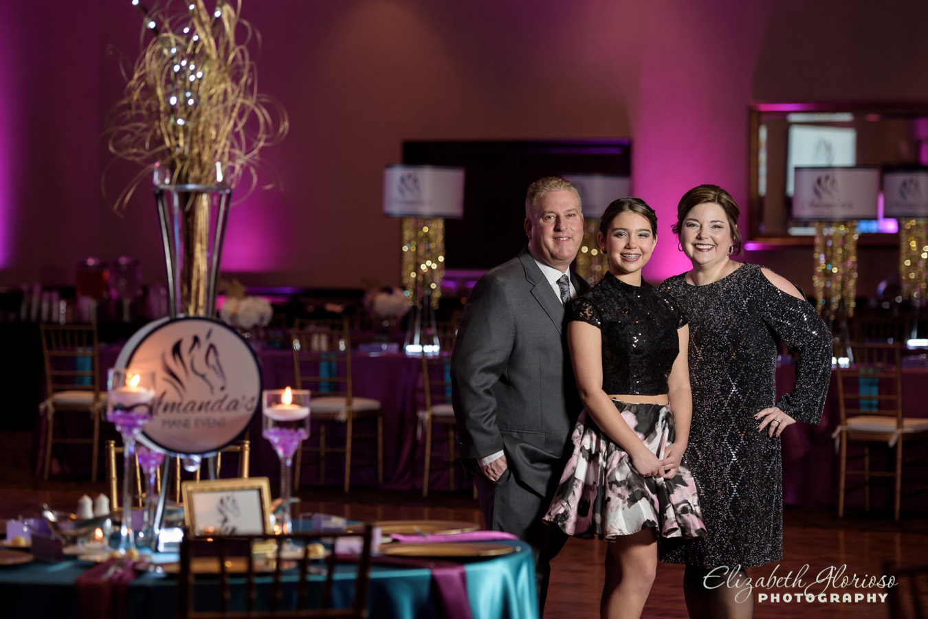 Family photo in the ballroom at the Bertram Inn Aurora Ohio