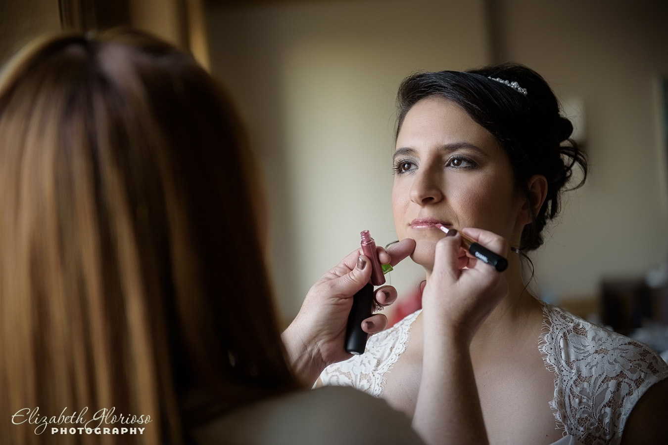 Bride getting makeup Ritz Cleveland Ohio