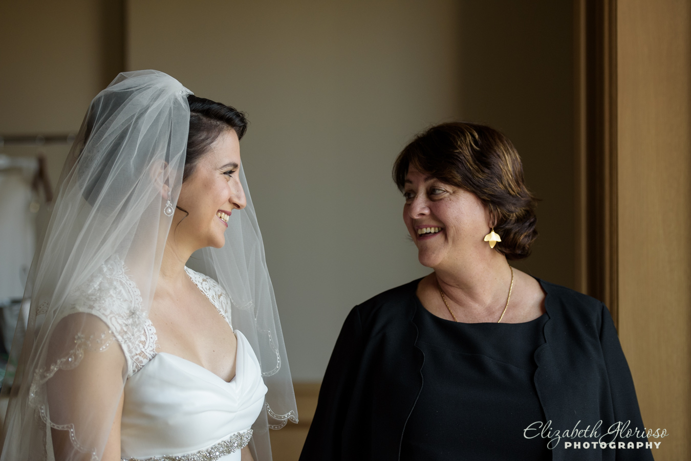 Bride with mom Ritz Carlton Clevland