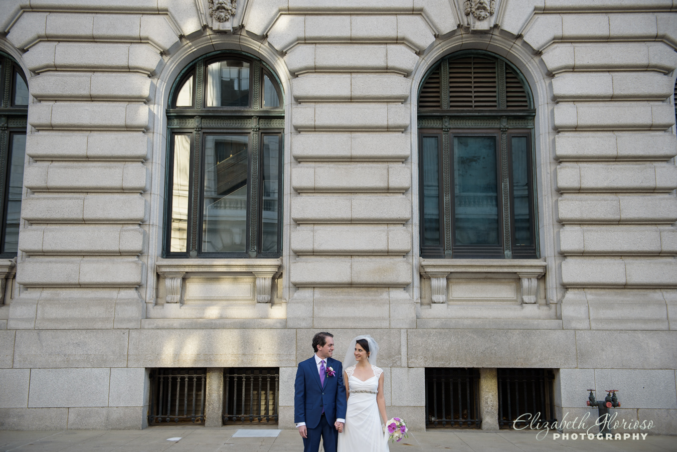 Bride and Groom photo in downtown Cleveland Ohio