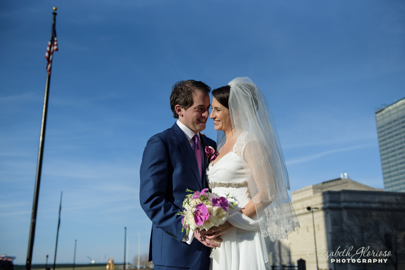 Bride and Groom portrait in downtown Cleveland Ohio