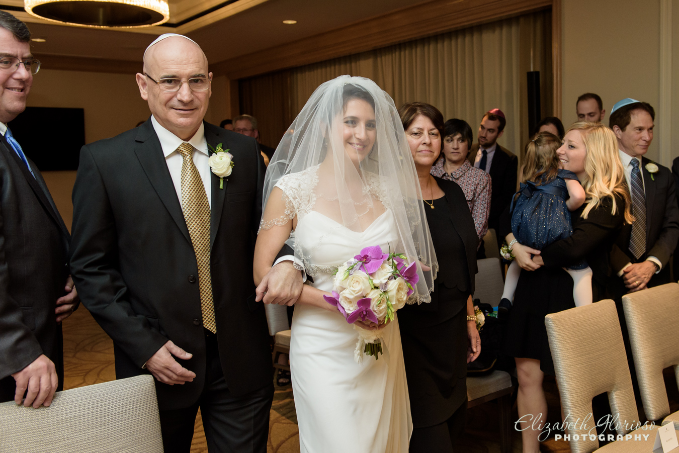 Bride walking down the aisle Ritz Carlton Cleveland