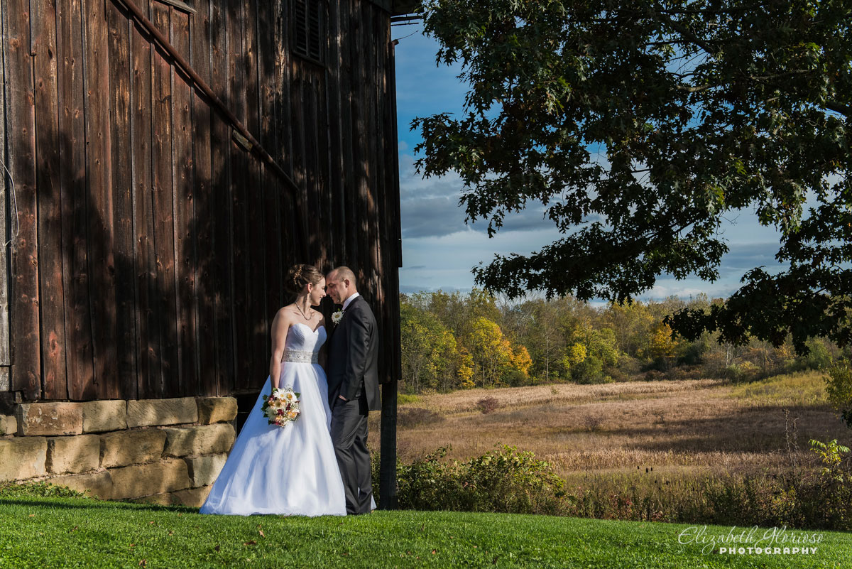 Wedding portrait of bride and groom at The Conrad Botzum Farmstead in Akron, Ohio
