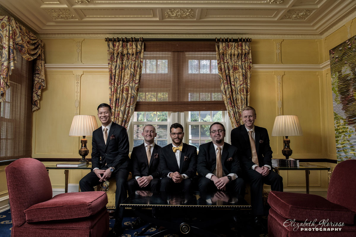 Photo of groomsmen taken at the Glidden House in Cleveland, OH