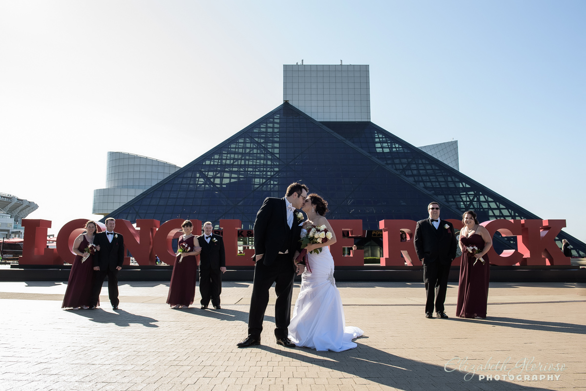 Wedding party at the Rock and Roll Hall of Fame Cleveland Ohio